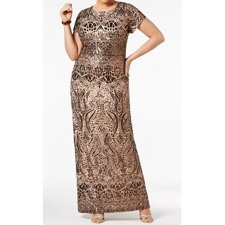 Betsy & Adam Bronze Womens Plus Sequined Gown Dress