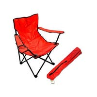 Folding Chair with Drink Holder and Steel Frame