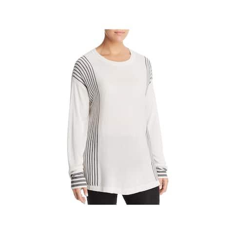Bobeau Womens Plus Pullover Sweater Stripe Crewneck