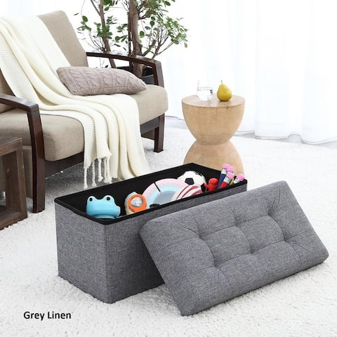 """Foldable Tufted Linen Large Storage Ottoman Bench Foot Rest Stool/Seat - 15"""" x 30"""" x 15"""""""