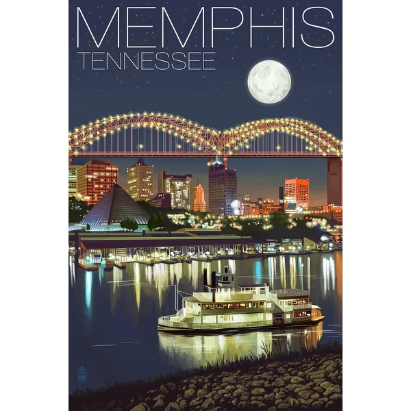 Memphis, TN - Skyline at Night - LP Artwork (Cotton/Polyester Chef's Apron)