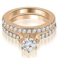 1.65 cttw. 14K Rose Gold Cathedral Round Cut Diamond Engagement Matching Set