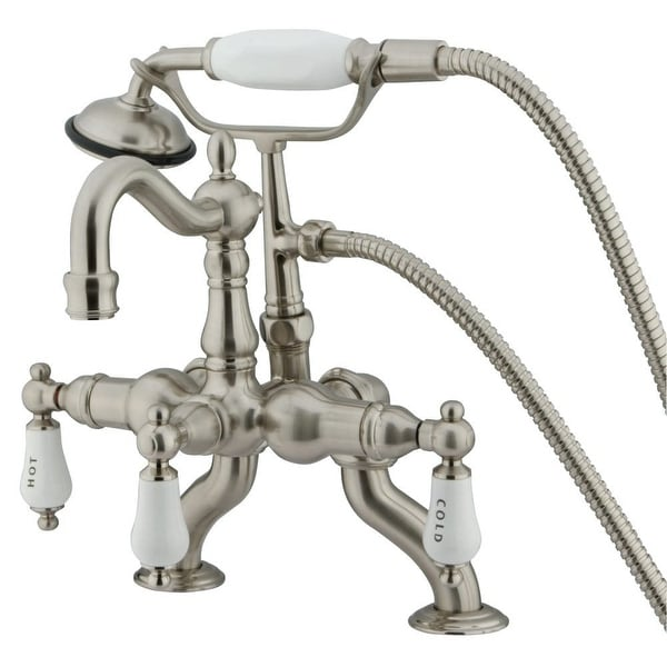 Kingston Brass CC20 Clawfoot Deck Mounted 2-Hole Tub Filler with Corrosion-Resistant Finish - Satin Nickel