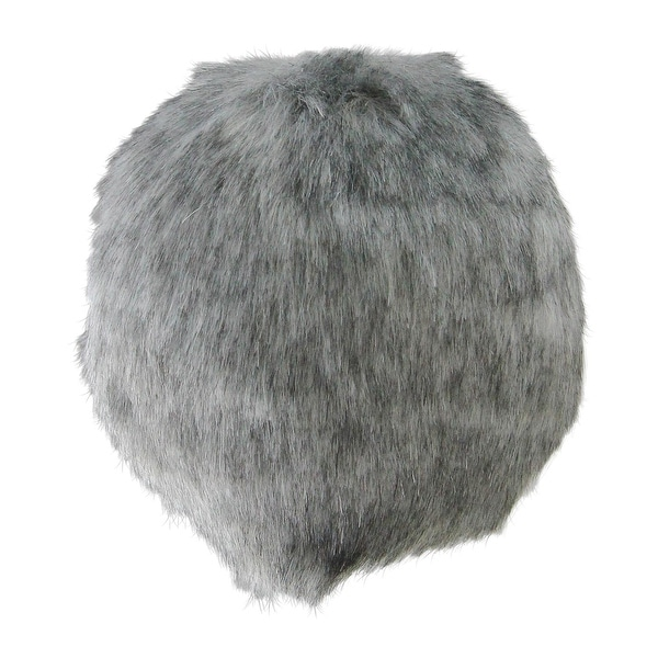 "4"" Gray Faux-Fur Christmas Ball Ornament Decoration (100mm)"
