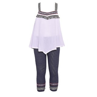 Little Girls White Ethnic Accents Strap Loose Fit Top 2 Pc Outfit