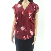 Lauren By Ralph Lauren Red Womens Size Small S V-Neck Blouse