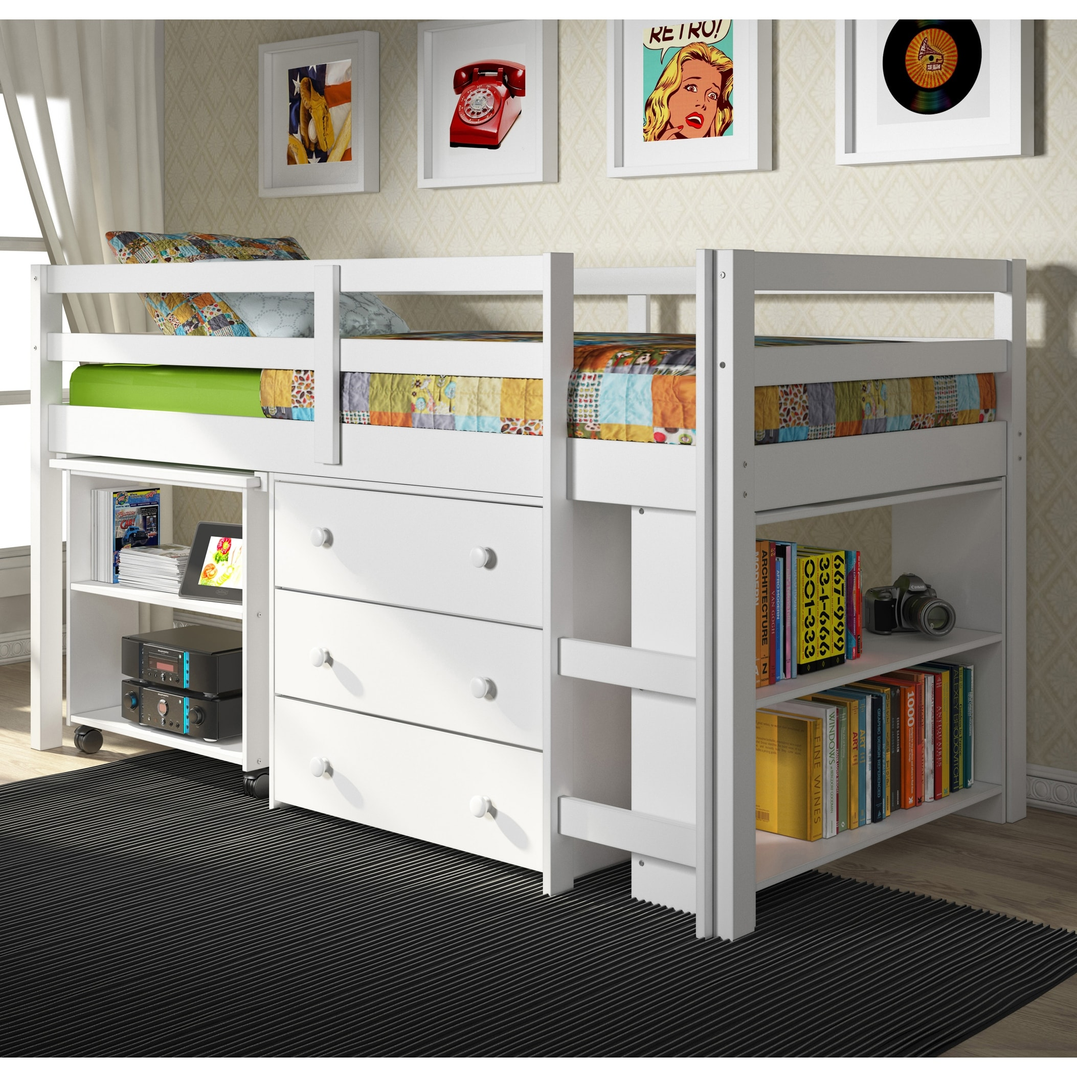 Picture of: Donco Kids Low Study Loft Desk Twin Bed With Chest And Bookcase Overstock 10840657