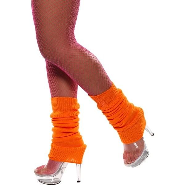 80's Neon Orange Leg Warmers Costume Accessory