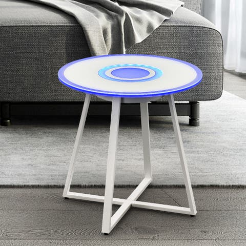 Strick & Bolton Doepner Iron Glass-top LED Bluetooth Side Table