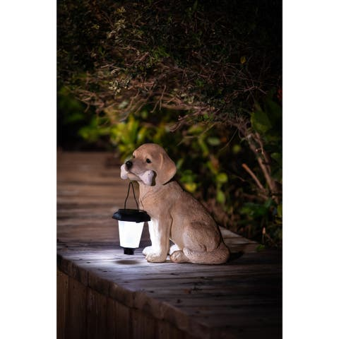 Polyresin Puppy with Solar Light Garden Statue