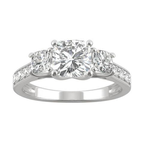 14k White Gold Moissanite by Charles & Colvard Cushion Three Stone Engagement Ring 2.14 TGW