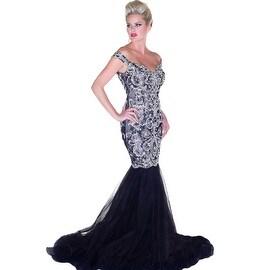 Mac Duggal Womens Beaded V-Neck Formal Dress