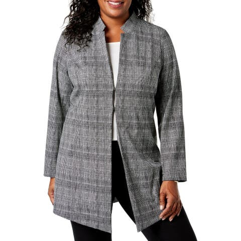 Alfani Women's Jacket Black Size 20W Plus Contrast Plaid Topper