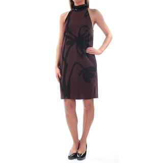 Womens Brown Sleeveless Above The Knee Shift Casual Dress Size: 2