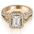 1.60 cttw. 14K Rose Gold Milgrain Halo Emerald Cut Diamond Engagement Ring - Thumbnail 0