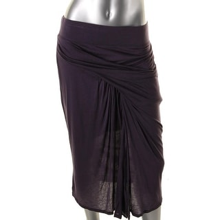 Helmut Lang Womens Faux Wrap Mid-Calf Straight Skirt - L