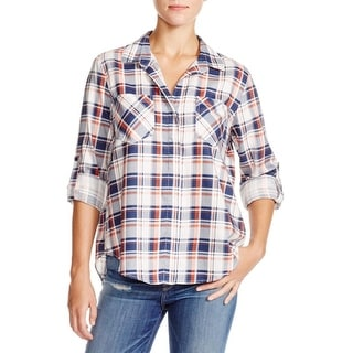 Aqua Womens Button-Down Top Plaid Tencel