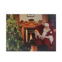 """Fiber Optic and LED Lighted """"Santa Checks His List"""" Christmas Canvas Wall Art 12"""" x 15.75"""""""