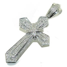 10K White Gold Diamond Cross Charm Pendant 51mm Tall 0.47cttw