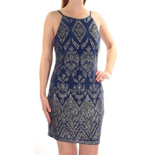 Womens Blue Printed Spaghetti Strap Mini Body Con Cocktail Dress Size: 1