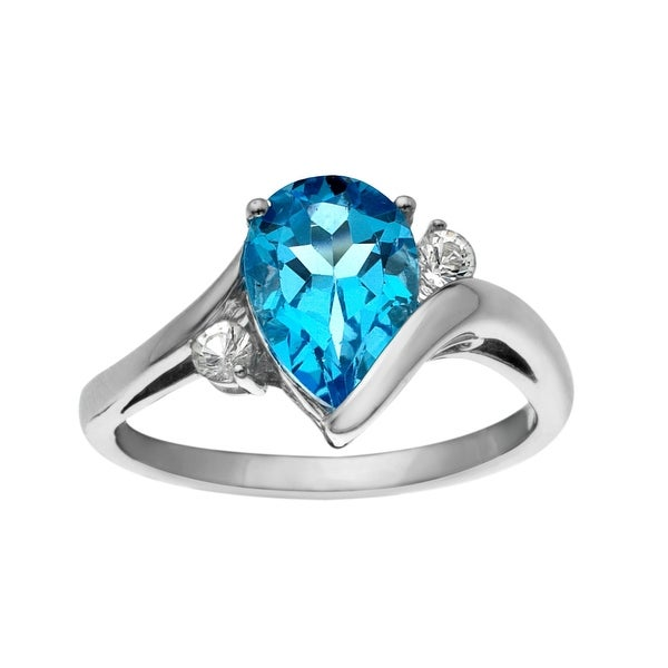 2 3/8 ct Swiss Blue and White Topaz Ring in Sterling Silver