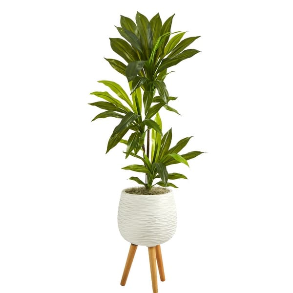 46 Dracaena Artificial Plant In White Planter With Stand Real Touch Overstock 31839383