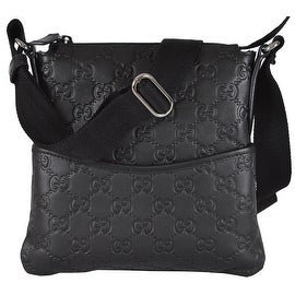 Gucci 374416 MINI Black Leather GG Guccissima Crossbody Day Purse Bag