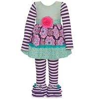 Counting Daisies Little Girls Purple Stripe Flower Panel 2 Pc Pant Set