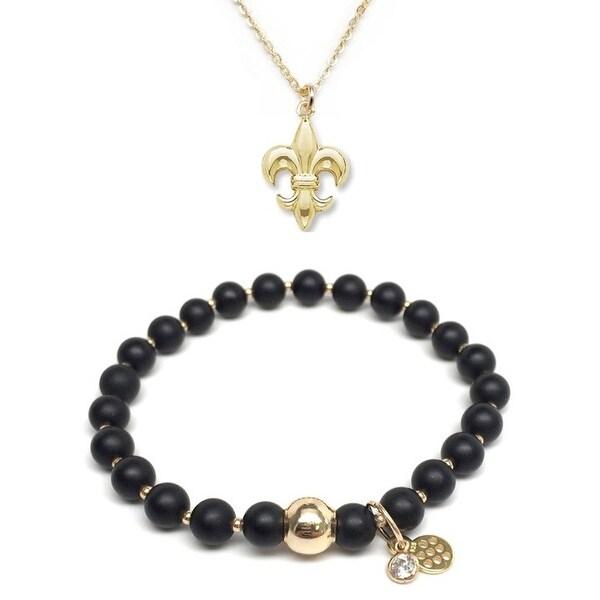 """Black Onyx 7"""" Bracelet & Fleur De Lis Gold Charm Necklace Set"""