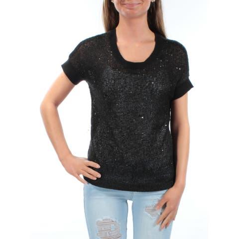 ELLEN TRACY Womens Black Dolman Sleeve Jewel Neck Sweater Size XS