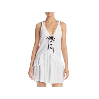 Minkpink Womens Casual Dress Lace-Up Peplum