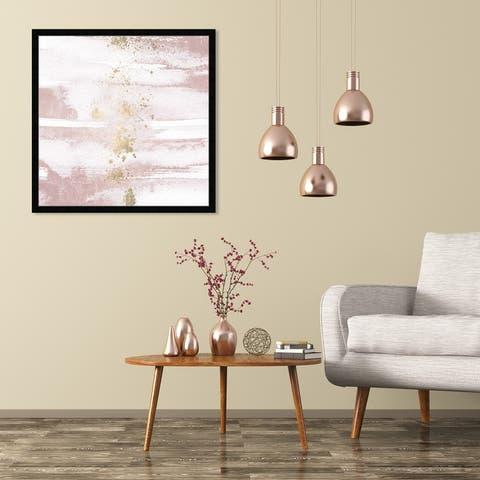 Oliver Gal 'Blushing Sun' Abstract Wall Art Framed Print Paint - Pink, Gold