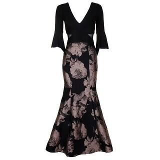 Xscape Petite Black Champagne Flare-Sleeve Jacquard Mermaid Gown 6P