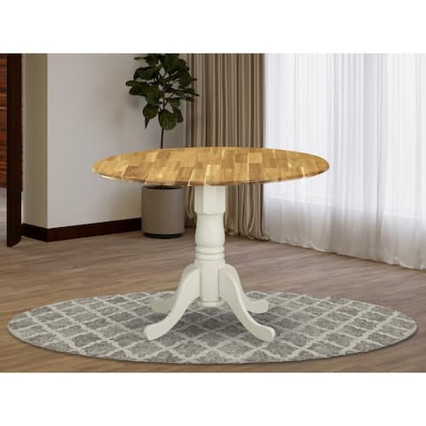 DMT-NLW-TP Acacia Wood Dining Table with Drop Leaves, Wood Texture Table Top and Linen White Pedestal