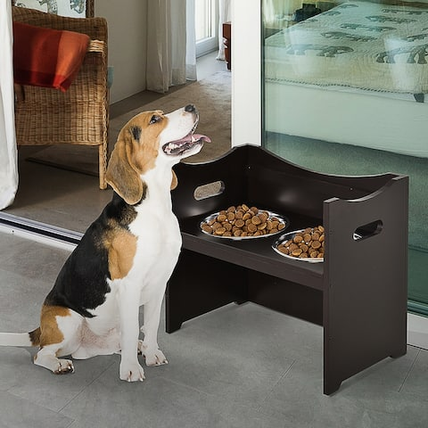 PawHut Raised Pet Food Elevated Feeder with 2 Stainless Steel Bowls, 3 Levels Adjustable Height Levels, and Wood Finish - Black