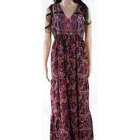 Jessica Simpson Black Womens Size Small S Paisley Print Maxi Dress