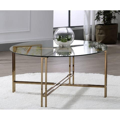 Veises Round Coffee Table, Clear Glass, Champagne Finish, Metal Stand