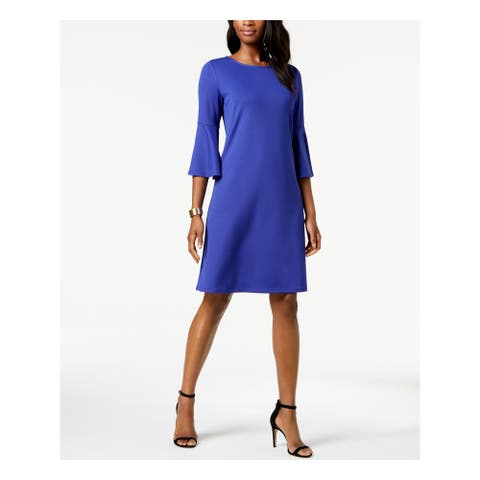 KASPER Blue Bell Sleeve Knee Length Shift Dress Size S