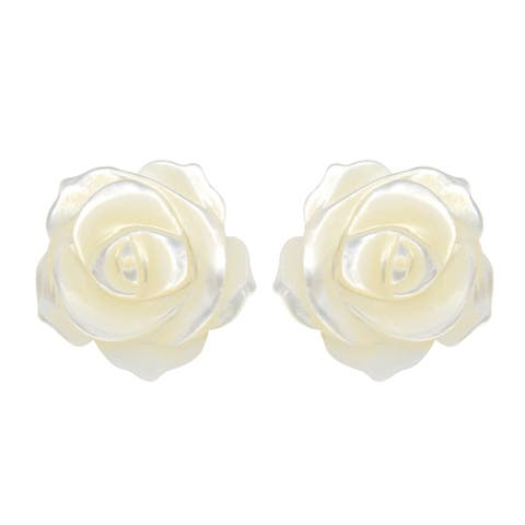 Handmade Delicate White Rose Carved from Mother of Pearl Stud Earrings (Thailand)