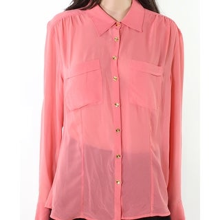 Guess NEW Pink Womens Size Medium M Sheer Dual Pocket Button Down Blouse