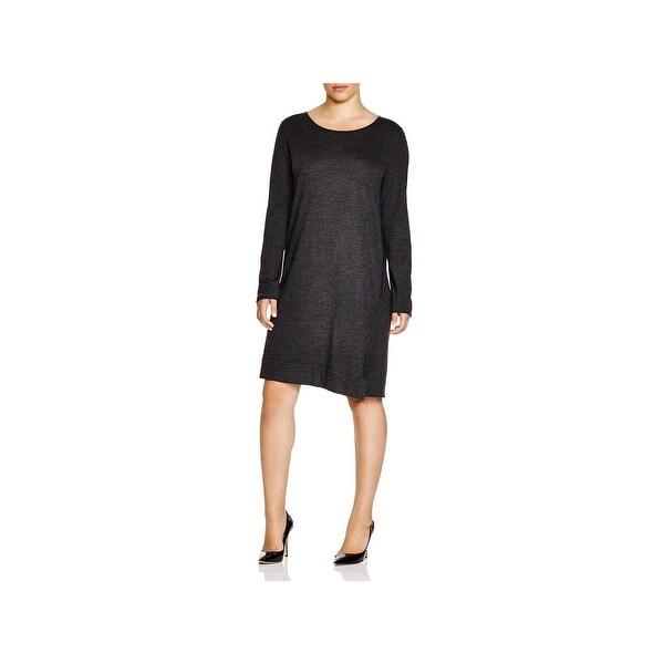 Eileen Fisher Womens Plus Sweaterdress Merino Wool Asymmetric