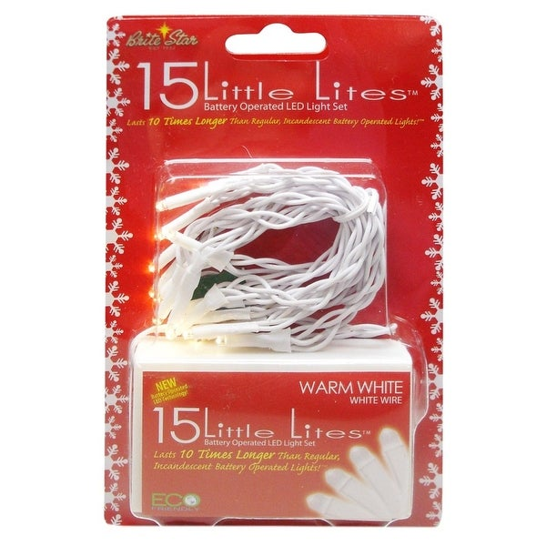 Set of 15 Battery Operated Warm White LED Little Lites Christmas Lights - White Wire