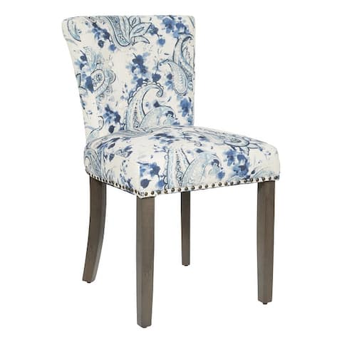 Kendal DiningChair in Fabric with Nailheads and Solid Wood Legs