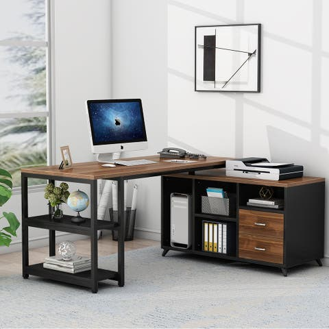 Tribesigns L-Shaped Computer Desk with Drawers, 55 Inch Rotating Executive Office Desk