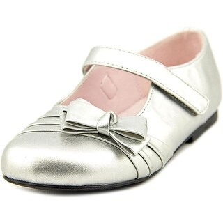 Nina Maxie Youth Round Toe Patent Leather Silver Mary Janes