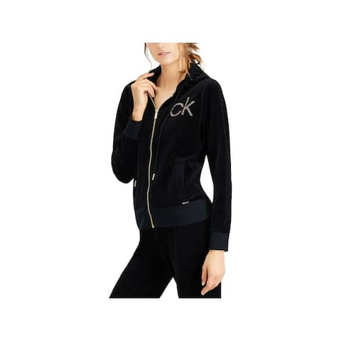 Calvin Klein Womens Hoodie Velour Embellished