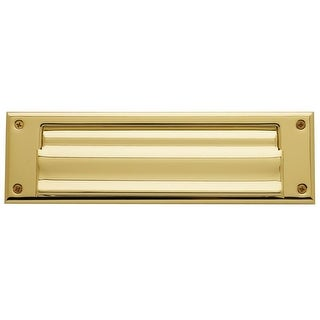 Baldwin 17 Magazine Sized Spring Tension Brass Letter Box Plate with Hinged Interior Cover