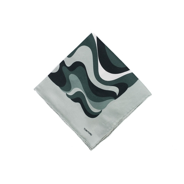 Tom Ford Men's Grey Blue Abstract Swirl Print Pocket Square - One size