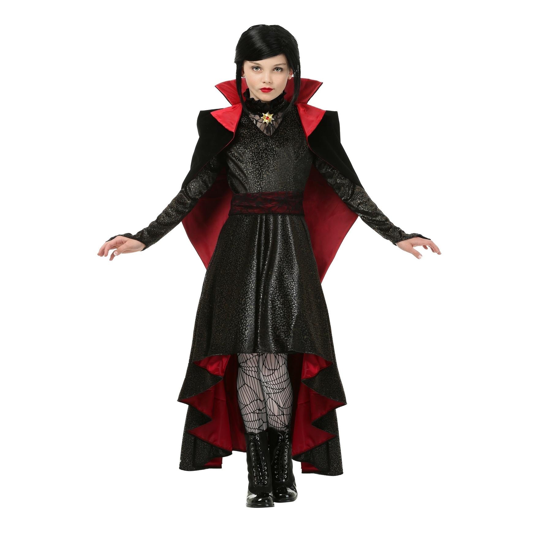 Brand New Deluxe Gothic Vampire Hooded Sorceress Robe Girls Child Costume