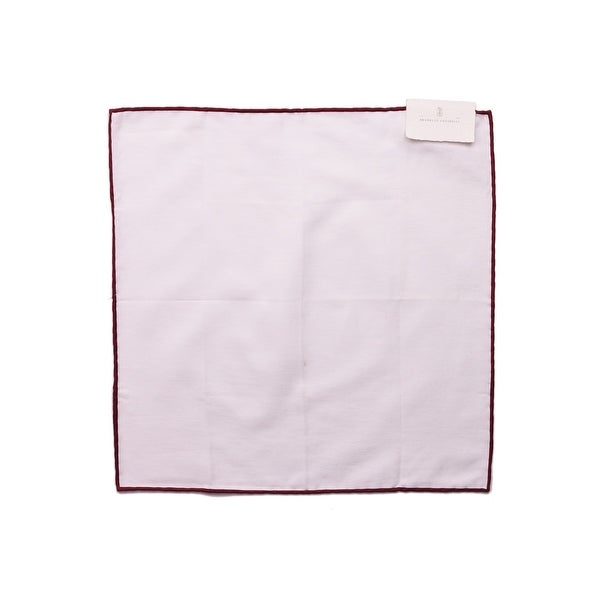Brunello Cucinelli Mens Solid White Cotton Pocket Square One Size~Retail$225